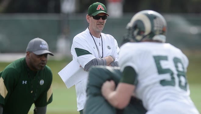 CSU football coach Mike Bobo, shown overseeing a drill during Tuesday's practice, said his team has made good progress through the first four weeks of spring practice.