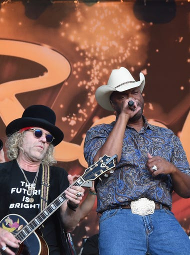 Cowboy Troy joins Big Kenny and John Rich of Big and Rich performs during Country Thunder - Day 4 on JSunday, in Twin Lakes, Wisc.