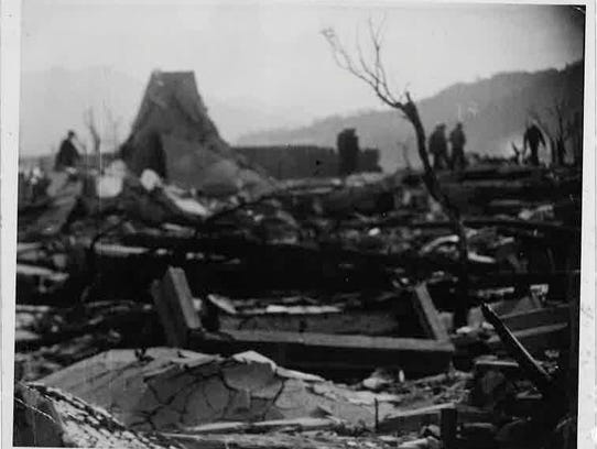 The aftermath of the atomic bomb dropped in Hiroshima,