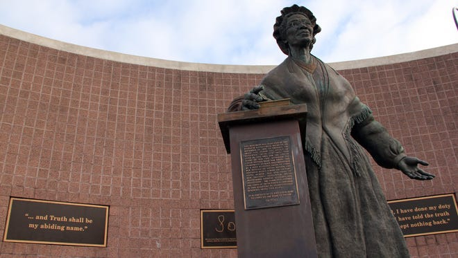 The Sojourner Truth Monument stands in downtown Battle Creek.