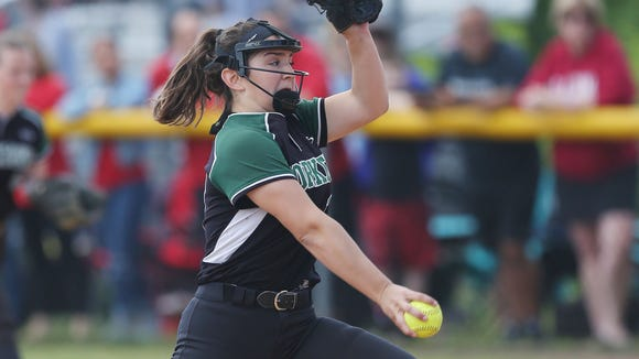 Yorktown's Erica Salveggi pitching against North Rockland during the Section 1 Class AA championship at North Rockland High School  May 27, 2017. Yorktown won the game 4-1.