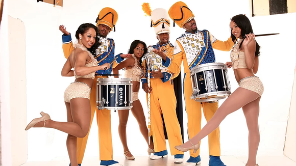 Members of DRUMLine Live, a theatrical production celebrating the tradition of black marching bands.