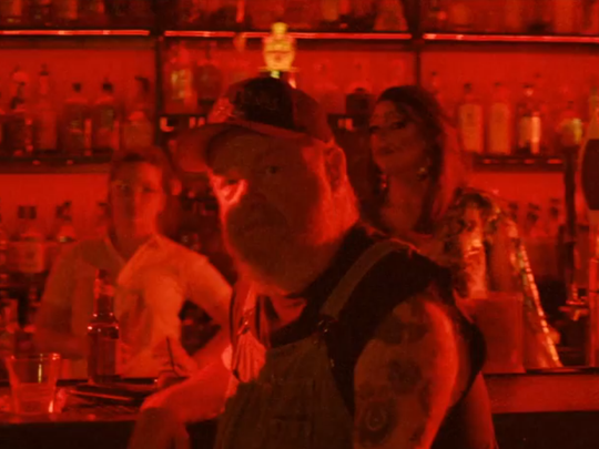 """Oddity Bar regular """"Harmonica Pete"""" Cogan  as seen in Kesha's new music video for the song """"Woman,"""" which was shot at the Wilmington  bar last month."""