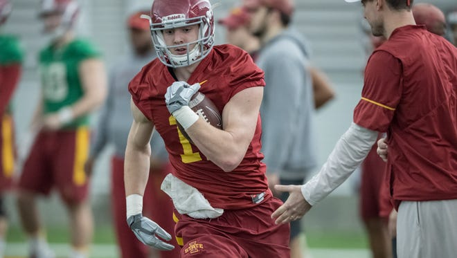 Iowa State tight end Chase Allen, a Nixa High School graduate, during spring drills in 2017.