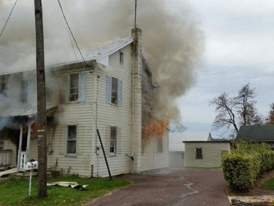 A Washington Township home in the first block of Bentz Mill Road caught fire Saturday morning.