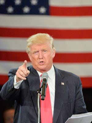 Republican presidential candidate Donald Trump address an audience at the The Hotel Roanoke & Conference Center on July 25, 2016 in Roanoke, Virginia.