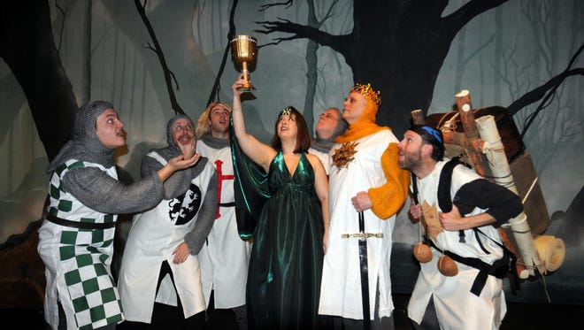 Alan Highe (Robin; from left), Jason Dilly (Lancelot), Brendan Lodge (Galahad), Stacey Smith (Lady of the Lake), Jim Snideman (Bedevere), Kirk Krekeler (King Arthur) and Lance Alan (Patsy).