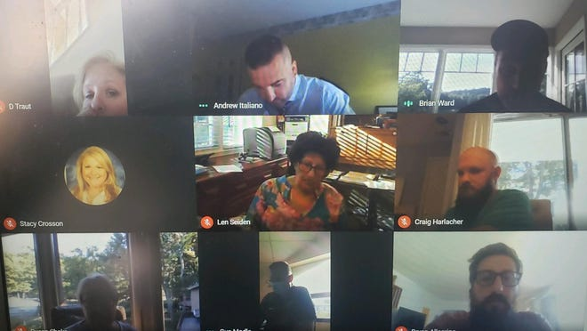 Sussex County Technical School Superintendent/Principal Gus Modla, bottom center, addressed a flurry of concerns by teachers, including Brian Ward, top right, the school teachers' union president, during a virtual Board of Education meeting on Thursday.