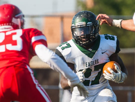 West Deptford running back Tyshawn Bookman (27) rushes