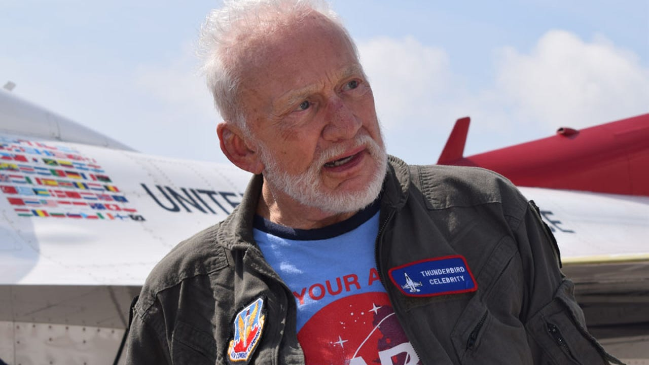 In 2017, astronaut Buzz Aldrin became the oldest person to fly with the Air Force Thunderbirds during the Melbourne Air and Space Show at Orlando Melbourne International Airport. Video by Wayne Price, FLORIDA TODAY.
