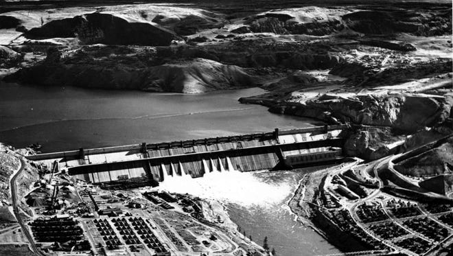 This Oct. 2, 1941, file photo shows The Grand Coulee Dam on the Columbia River as it nears completion, near Spokane, Wash.