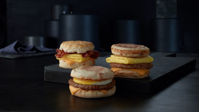 The expanded McDonald's All Day Breakfast menu features Biscuit sandwiches, as well as the newest addition, McGriddles.