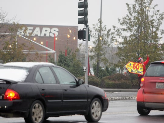 The Sears Department Store at the Kitsap Mall at SIlverdale Way and Ridgetop in  Silverdale on a misty, gray Monday.