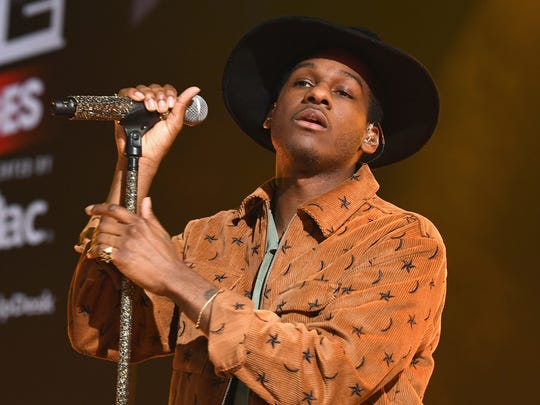 Leon Bridges performs on stage during iHeartRadio LIVE