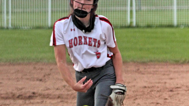 Junior righthanded pitcher Halle Rucker of the rampaging Chillicothe High School softball Lady Hornets delivers one of the 96 pitches she threw to shut out visiting St. Joseph: Lafayette on three hits in an 8-0 CHS win Monday.