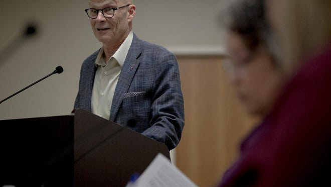 Eanes school district Superintendent Tom Leonard, pictured here speaking during a Travis Central Appraisal District meeting in February, wants to make sure voters understand Prop A before the upcoming election.