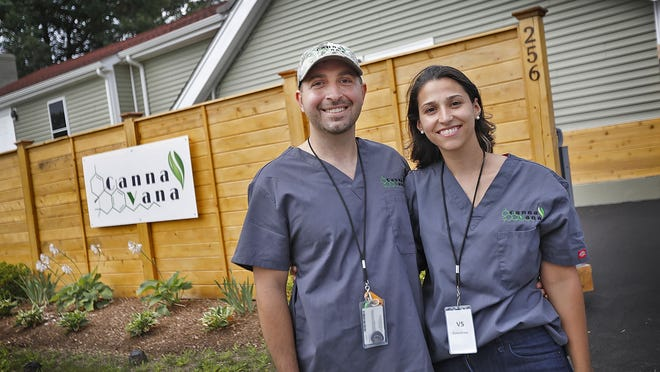 Mario Chiuccariello and his wife Ilda own Cannavanna, a new marijuana shop soon to open in Rockland on Weymouth Street. Greg Derr/The Patriot Ledger