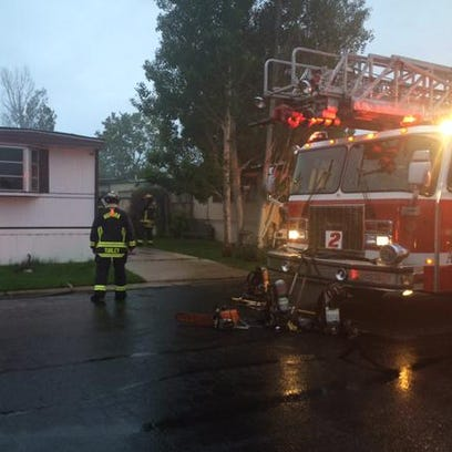 Aurora fire responding to a house fire at Hillcrest