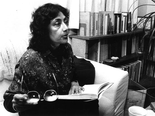 In this 1989 file photo, Bharati Mukherjee talks about