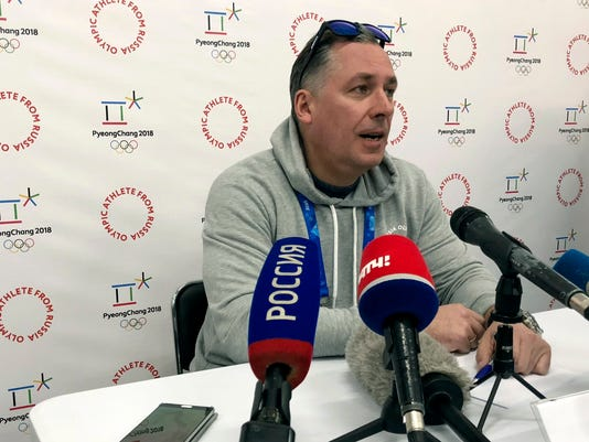 Stanislav Pozdnyakov, the head of the Russian delegation, talks to reporters Thursday, Feb. 8, 21018, prior to the Winter Olympics in Pyeongchang, South Korea. (AP Photo/Stephen Wade)