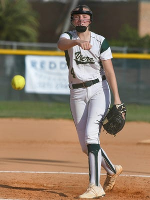 Corrin Flajole pitches during a game against Sebastian River.