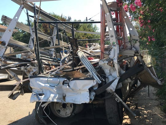 This 2006 Ford pickup was hit from behind by an Amtrak