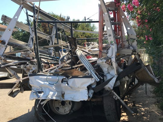 This 2006 Ford pickup was hit from behind by an Amtrak train after it was left on a Cottonwood railroad crossing Friday.