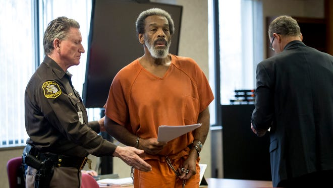 Anthony McCrory is led by a sheriff's deputy during a hearing Thursday, March 31, 2016 in the courtroom of Judge Cynthia Lane at the St. Clair County Courthouse in Port Huron. A psychiatric evaluation found McCrory competent to stand trial, but not competent to represent himself. McCrory is currently serving a 2012 sentence of three to 25 years in prison for aggravated stalking as a four-time habitual offender. The Michigan Court of Appeals ruled in September that McCrory would have a second trial because St. Clair County Circuit Judge Cynthia Lane did not adequately explain the risks and pitfalls of his representing himself.