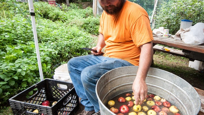 Randy Williams sorting apples for the apple press at the Long Branch Environmental Center during ASAP's annual Farm Tour.