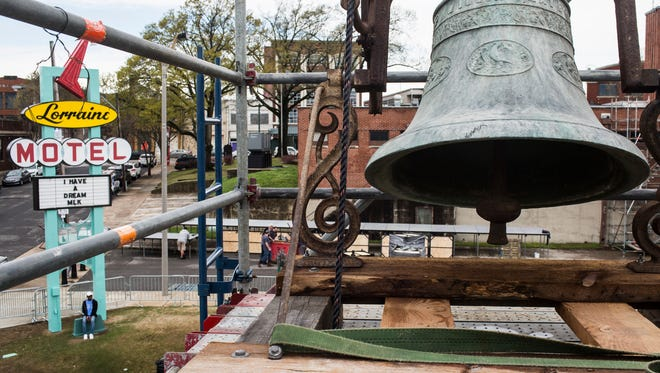 A 120-year-old, 1,700-pound church bell, rescued from its perch of rotting wood inside the tower at Clayborn Temple, is now situated atop a scaffold just south of the preserved Lorraine Motel.