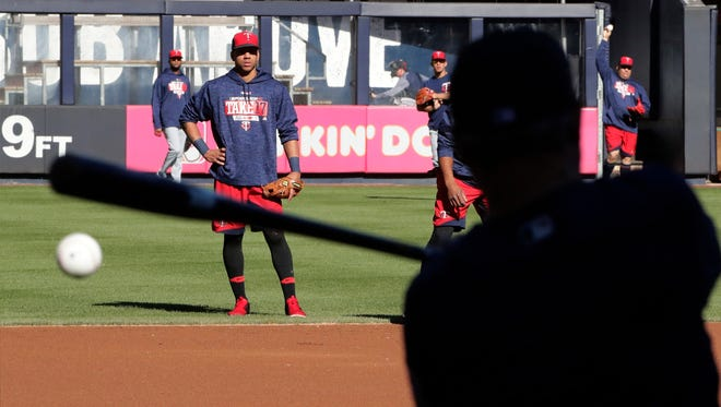 The Twins workout at Yankees Stadium before Tuesday's wild card game.