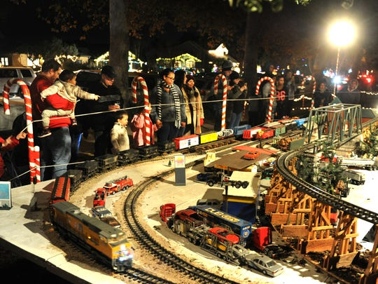 Model trains fill the front yard of a residence on Christmas Tree Lane in Oxnard in 2017.