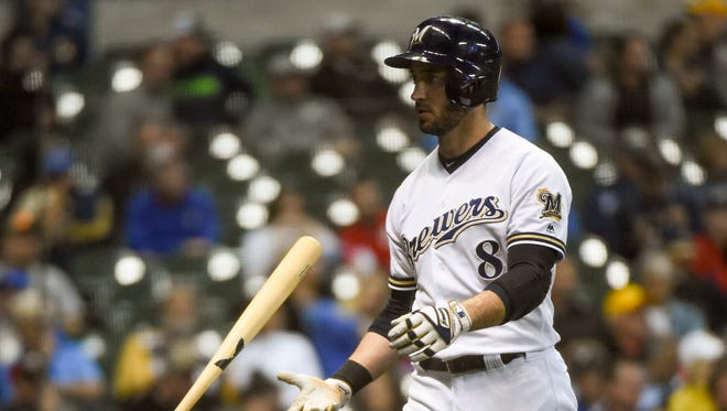 Ryan Braun tosses his bat aside after being called out on strikes in the seventh inning against the Pirates on Monday night. The Brewers managed just three singles against Pittsburg during the game.
