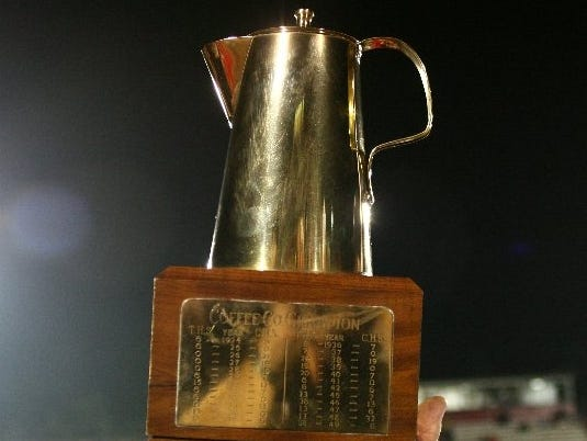 The Coffee Pot trophy is awarded to the Tullahoma-Coffee County winner.