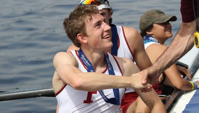 Bill Haug suffered  a serious injury to his leg and is now on the Fordham rowing team