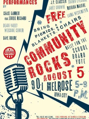 Iowa City Community School Board candidates will meet with community members during the Community Rocks Rally Aug. 5, 2017, in University Heights.