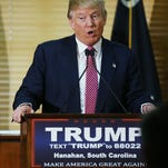Republican Presidential candidate Donald Trump speaks at a news conference Feb. 15, 2016, in Hanahan, South Carolina.
