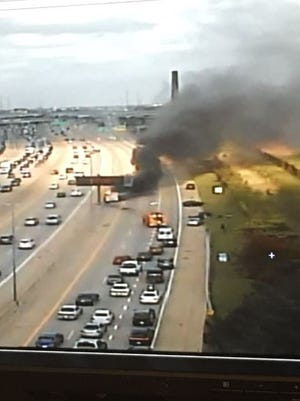 Fatal car fire blocking lanes at Interstate 96 and Outer Drive.
