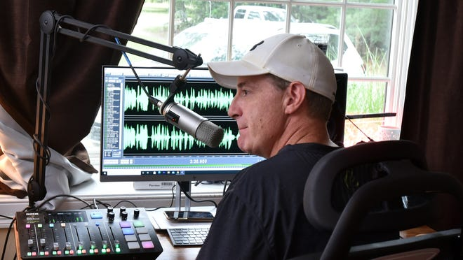"Dan Mahoney monitors the mixing panel at his home in Marstons Mills, where the longtime morning show duo ""Dan and Stephanie"" has been broadcasting digitally since mid-August."