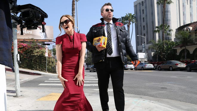 Samantha Bee and Jason Jones in Los Angeles with Butterfinger Cups.