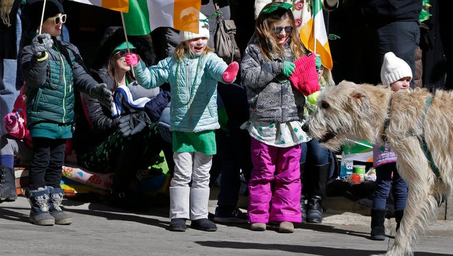 Children greet Irish wolfhounds during the 2017 St. Patrick's Day Parade in downtown Milwaukee. The 2018 edition is this Saturday.