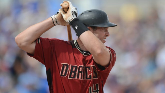 Mar 11, 2016: Arizona Diamondbacks first baseman Paul Goldschmidt (44) bats during the fourth inning against the Kansas City Royals at Surprise Stadium.
