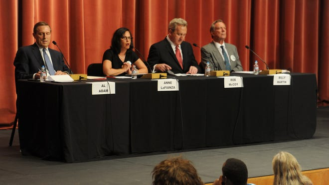 Thousand Oaks City Council candidates, from left, Al Adam, Anne LaFianza, Rob McCoy and Billy Martin take part in a forum Wednesday night at City Hall.