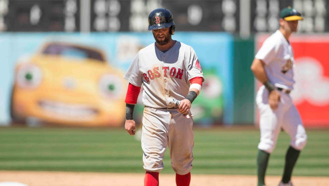 Dustin Pedroia sprained his left wrist when he tumbled over White Sox first baseman Jose Abreu.