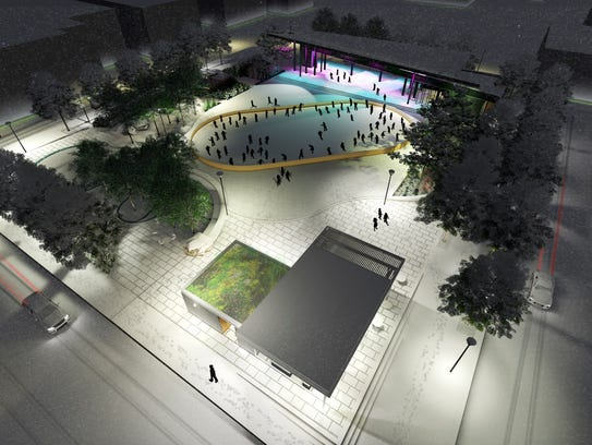 Artist rendering of Downtown Commons with ice rink.