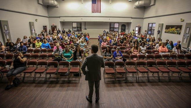 Marty Pollio speaks to a group of JCPS counselors attending professional development day at Jeffersontown High School, a school where he was principal for eight years.  Pollio is the Acting Superintendent for Jefferson County Public Schools.