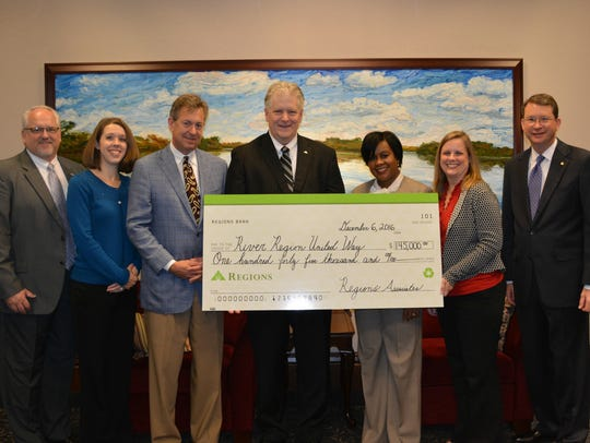 Regions Bank executives Tuesday presented a $145,000