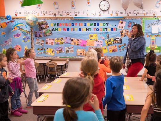 """""""Sh, sh, sh,"""" first grade teacher Andrea Boyle says"""