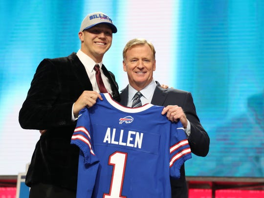 Apr 26, 2018; Arlington, TX, USA; Josh Allen is selected as the number seven overall pick to the Buffalo Bills in the first round of the 2018 NFL Draft at AT&T Stadium.