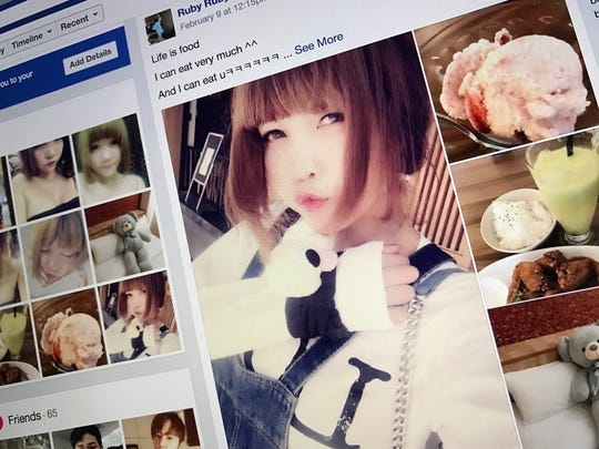 """The Facebook page of Doan Thi Huong, the Vietnamese suspect in the death of the North Korean leader's estranged half brother Kim Jong Nam, is shown on a computer screen in Bangkok, Thailand, Wednesday, Feb. 22, 2017. A photo of Huong wearing an """"LOL"""" shirt like the attacker's was posted under the name Ruby Ruby."""